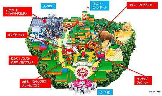 スーパー・ニンテンドー・ワールドのエリアマップ